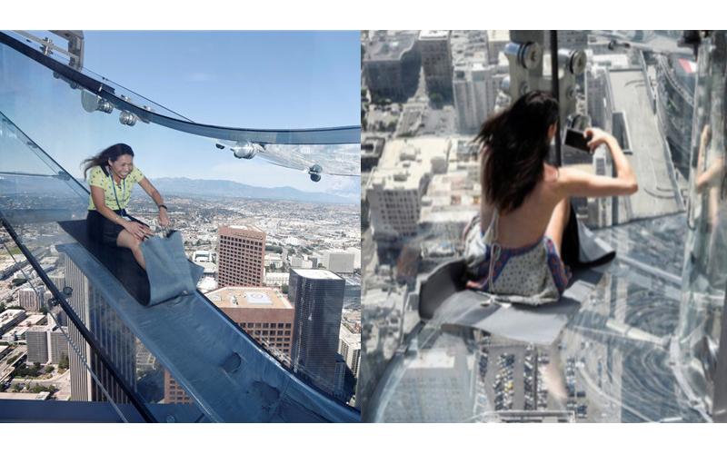 美國洛杉磯70樓高「全透明玻璃滑梯」,滑下去的瞬間感覺心臟都要衝出來了!(影片)