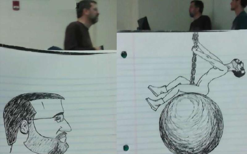 這位學生覺得上課很無聊,結果一整個學期都在偷畫教授,還越畫越有梗!:這絕不可被教授發現
