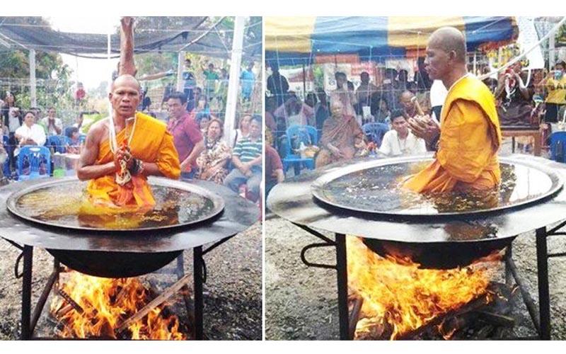 泰國和尚在滾燙的油鍋裡打坐,表情卻很悠哉?現在祕密被揭露了!