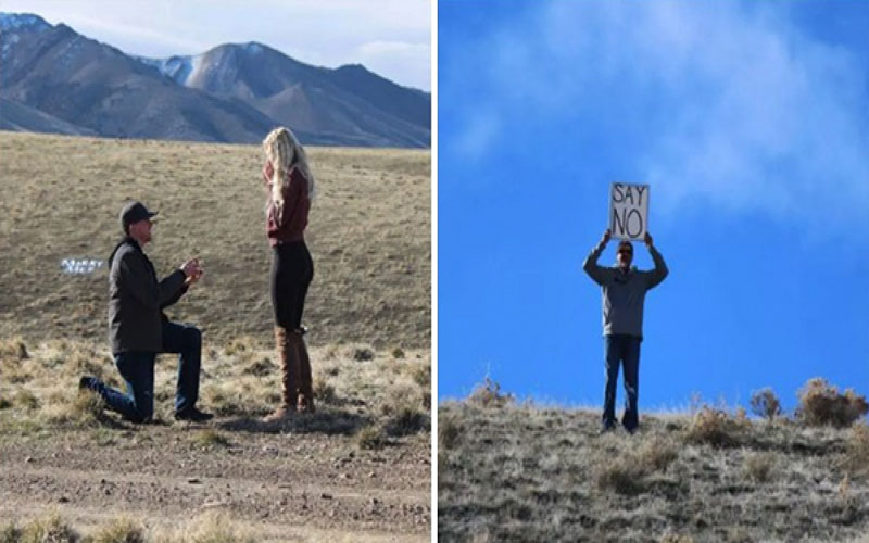 男友突然跪地求婚她超感動,正要落淚...看到遠方老爸「高舉提示」瞬間噴了!