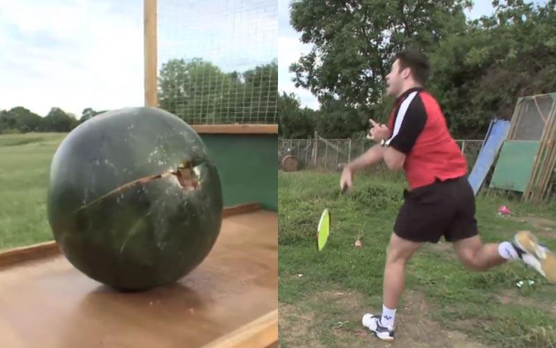 羽球扣殺時威力有多大?當他猛力擊中那顆西瓜時…我嚇到腿都軟了!