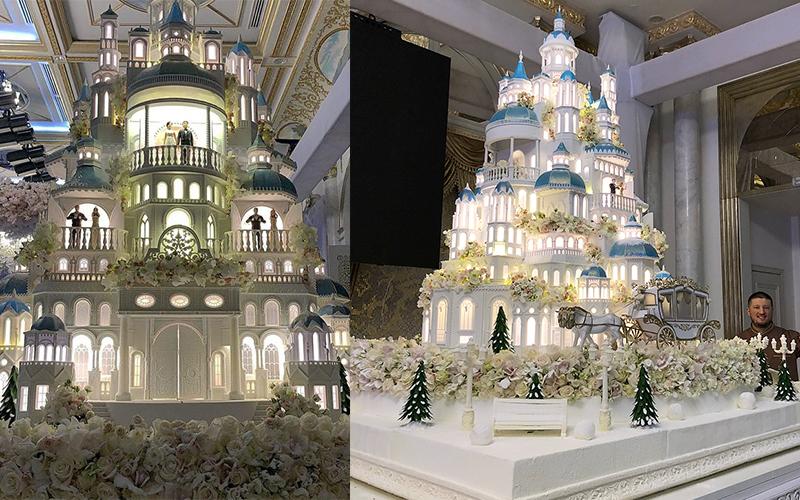 要價520萬的蛋糕長怎樣?4公尺高「超豪華城堡」一推出來賓客全被閃到超刺眼!