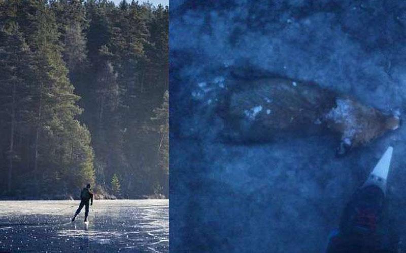 男子在結冰的湖面上溜冰突然覺得腳下不太對勁,於是他低頭一看竟然看到這個「超駭人」的景象...