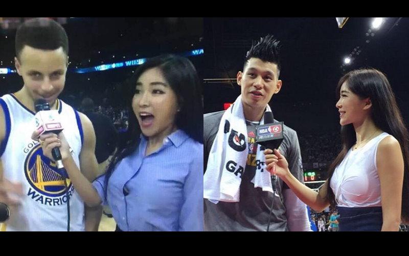 NBA最美主播周玲安D奶『爆釦』訪萌神,Curry秀中文大喊「我愛你們」