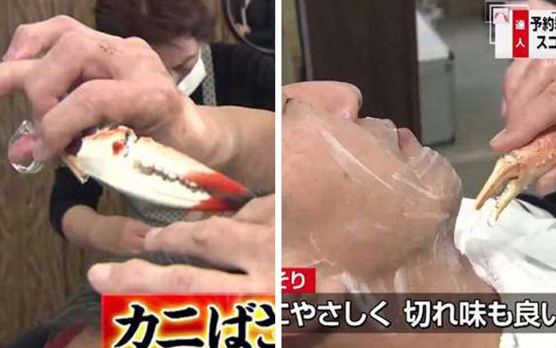 日本專業理髮師竟然用「蟹腳」幫客人剪髮刮鬍子?!他一說出背後的理由大家都大為讚賞啊!