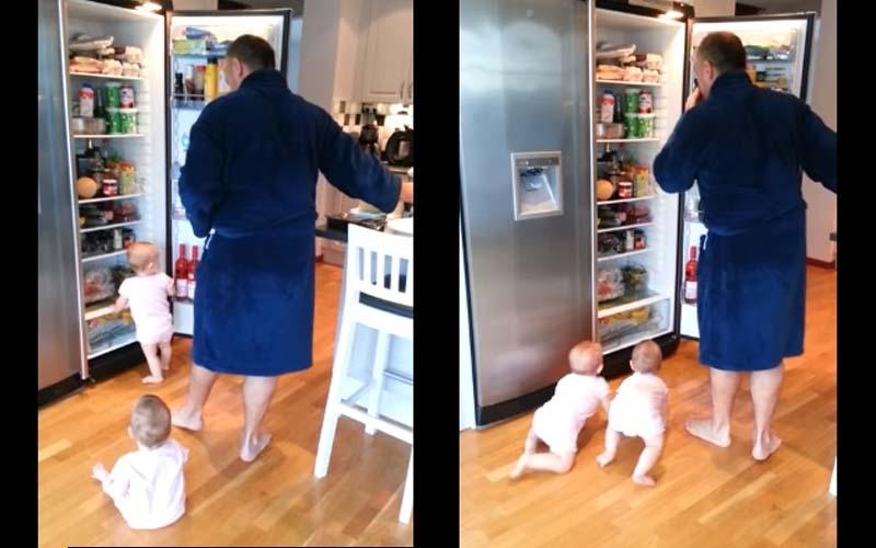 爸爸開冰箱準備做早餐,這對可愛雙胞胎就來「幫忙」這畫面簡直要融化了!好可愛!