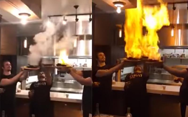 餐廳店員端盤子狂秀「火炬起司」驚艷全場!沒想到幾秒鐘後卻「釀成悲劇」全場尖叫笑翻!