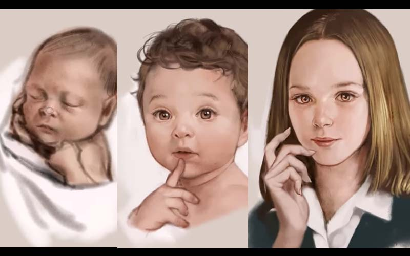 她用「同一張臉」描繪女子從出生到年老的臉部變化!網友看完覺得心酸酸!