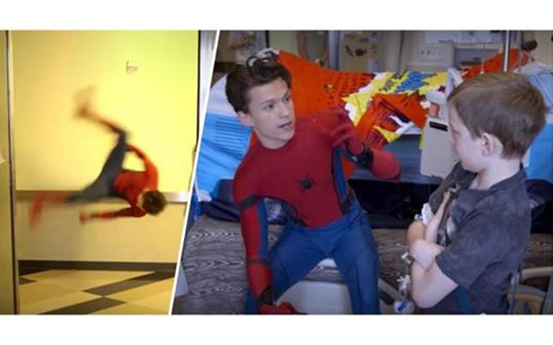 蜘蛛人前往兒童醫院,現場「360度懸空側翻」逗樂小孩,獲2000萬網友狂讚!