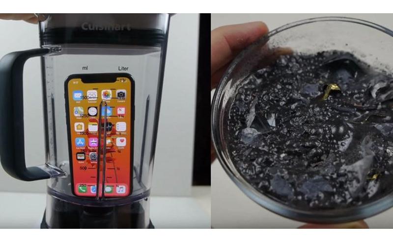 他實驗把iPhone X放進果汁機打碎,想不到竟變成果汁喝下肚... 網友傻眼:有錢真好!