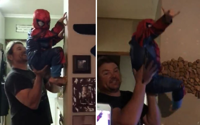 兒子想當蜘蛛人!爸爸讓他達成夢想 手動讓他飛簷走壁跳上跳下:別人老爸從不讓人失望❤