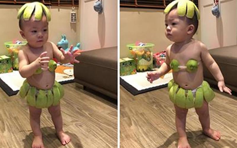 1歲萌娃變身柚子,穿「柚基尼」大跳海草舞,可愛模樣萌爆眾人 網笑:長大會後悔!